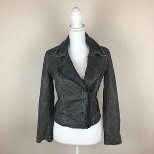 BlankNYC Vegan Leather Jacket Gray Snakeskin XS